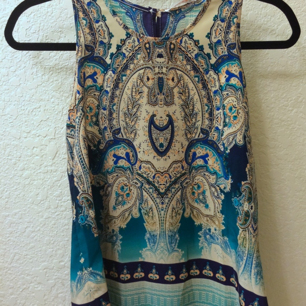 TUCKER MIXED PAISLEY PRINT SPLIT-BACK TANK