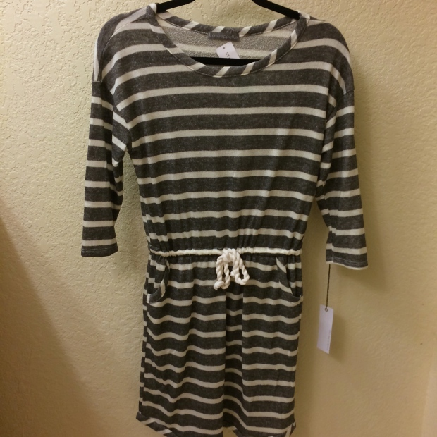 Laina 3/4 Sleeve Striped Tie-Waist Dress