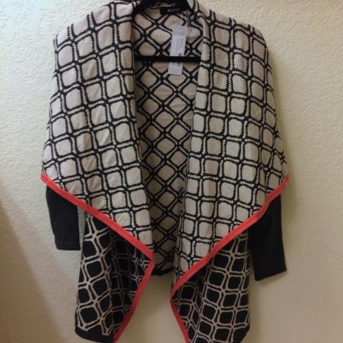Jocelyn Geo Knit Drape Front Cardigan